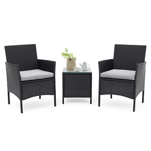 SUNCROWN 3-Piece Patio Furniture Outdoor Bistro Set 2 Wicker Chairs with Glass T