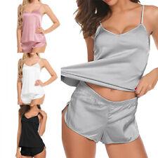 Women Sexy Lingerie Sleepwear Ladies Satin Silk Babydoll Nightwear Pajamas Set