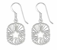 Sterling Silver Woven Wire & Beads Framed Star Wire Earrings - SE1458