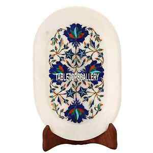 9''x6'' White Marble Plate Tray Inlay Lapis Dining Table Decor Mosaic Gift H3647