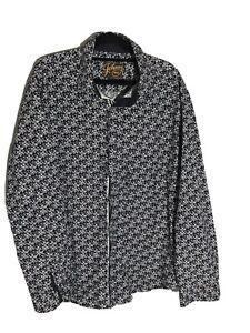 Johnny Bigg Tarocash Mens Size XL -Navy White Floral Long Sleeve Button Up Shirt