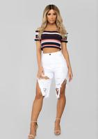 Fashion Nova All Jacked Up Distressed Shorts - White High Rise Destroyed size 3