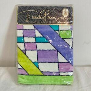 PAIR 1960's Vtg. Emilio Pucci Hand Towel Geometric Pattern Cotton Sealed