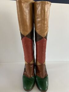 Vintage 70s Boho Hippie Tall Leather Patchwork Boot