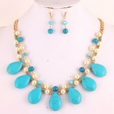 Handcrafted Howlite Teardrop Necklace & Earrings Set - Turquoise color