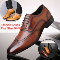Men Lace Up Oxfords Tuxedo Formal Leather Shoes Pointed Toe Business Work Dress