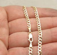 3.6mm Solid Miami Cuban Curb Link Ankle Bracelet Anklet Real 14K Yellow Gold