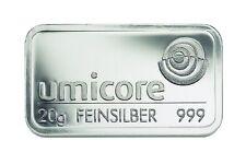 Silver Bullion 20 Grams Umicore 999 Fine Silver 20g Silverbar Lingotti Argento