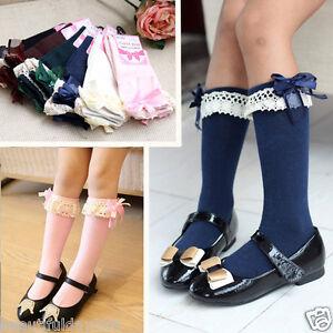 Baby Girl Children Toddler Kids Knee High School Frilly Trim Socks 1- 5 years