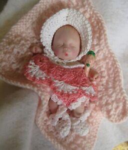 "Ooak clay baby girl, Rosalie, 4.5"",  jointed full sculpt, original"