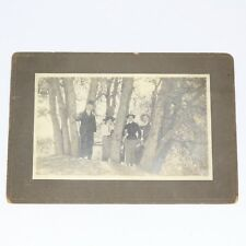Early 1900s Photograph Men Women Hiking Engineer Boots Bowler Hat Trees Outdoors