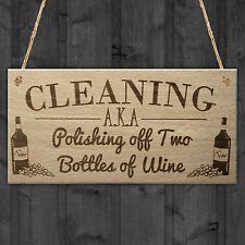 Cleaning Wine Alcohol Funny Friendship Gift Home Hanging Plaque Best Friend Sign
