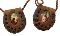 Sacred Heart of Jesus Christ and Our of Lady Mt Carmel Leather Scapular Necklace