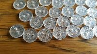 SILVER GLITTER SPARKLY 2 HOLE BUTTONS 11,13,15MM 10-100 CRAFT BABY SEWING CUTE