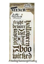 Halloween Script Words Layering Stencil Stampers Anonymous Tim Holtz Collection