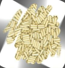 "1 Hank SOFT BEIGE Luminous 6mm (1/4"") Glass Bugle Seed Beads N2022"