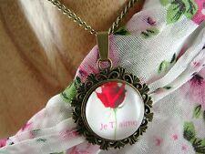 MEDAILLON Anhänger mit Kette - Glascabochon Rose- Vintage - Retro - Romantik