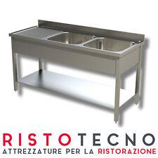 Lavatoio Lavello inox 2 vasche con sgocciolatoio SINISTRO. Cm. 150x70x85H.