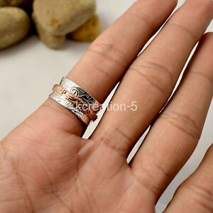 925 Silver Meditation Spinner Ring Copper Band Worry Statement Ring K25 Size 9