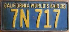 Old Photo. 1939 California World's Fair License Plate 7N 717