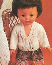 Dolls Clothes Lacy Cardigan (Baby Prem size)  Knitting Pattern