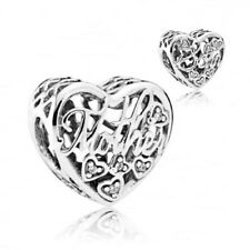 Stunning 925 Sterling Silver Mother And Son Charm With Cubic Zirconia Stones