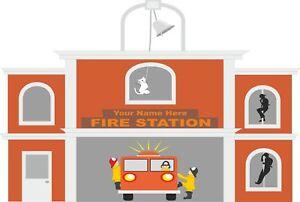 Fire Station Engine Fireman Sam Wall Stickers Mural Decal Wallpaper FS2
