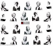 NAIL Art acqua trasferimenti Nail Art Decalcomanie Nero MARILYN MONROE SMALTO GEL (a488)