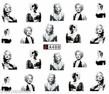Nail Art Water Transfers Nail Art Decals Black Marilyn Monroe Gel Polish (a488)