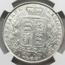 NGC AU UK GREAT Britain 1845 VICTORIA YOUNG HEAD HALF 1/2 CROWN SILVER COIN