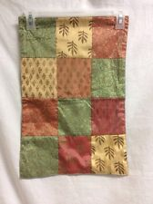 Milli Home Placemats Set Of 2 Fabric Shimmer Patchwork Leaves Green Copper Gold