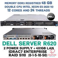 Dell R620 2x E5-2620 v2 + 48Gb DDR3 R + 4x1GB LAN i350 + 2 FUENTES ALIMENTACION