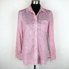 Gap Womens Small Fitted Boyfriend Button Down Shirt Pink White Polka Dots Cotton