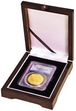 Wood Display Box for 1 Certified Coin Slab PCGS or NGC - Mahogany Finish