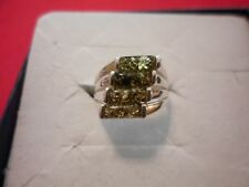 Baltic Green Amber Rectangle Cluster Ring in 925 Sterling Silver-Size 6