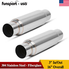 """1 Pair 3"""" Inlet / Outlet High Flow Performance Exhaust Muffler / Resonator S/S"""