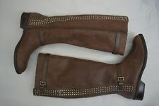 Women's Jessica Simpson ELLISTER Studded Flat Riding Boots Leather Brown 9 1/2