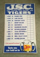 Jax Beer~Vintage Jax Beer *J.S.C.* 1972 Tigers Unused Football Schedule