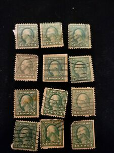 Set of 9 rare George Washington 1 cent stamps - green, mailed