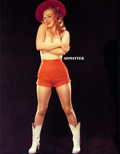 Marilyn Monroe Pin-up Poste Topless Cowgirl Photo Red Hat Shorts Cowboy Boots!
