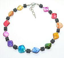 Kette Halskette LAVA Würfel / PERLMUTT bunt multicolor zauberhafte SYMBIOSE 296.