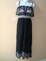New Raviya Womens Black And White Sleeveless Full Length Dress Small