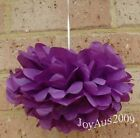 6x 30cm purple tissue paper pom poms wedding party baby shower events decoration
