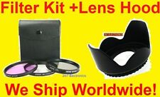 FILTER KIT+LENS HOOD 72mm for Camera  Camcorder Video  UV FLD CPL