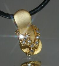 Golden Slippers Pendant With Tiny Created Diamond + Nacklace (#008)