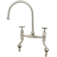 Kitchen Sink Bridge Mixer Tap Brushed Nickel Swan Neck Twin Cross Head Handles