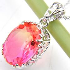 Fire Oval Sparking BI-COLORED Tourmaline Silver Chain Pendants Necklaces