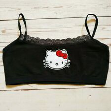 Hello Kitty Bralette Cami Crop Top camisole lace mesh black tank training bra uk