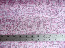 Vintage Hot Pink and White Geometric Spiral Print Crinkle Fabric 43 Wide BTY