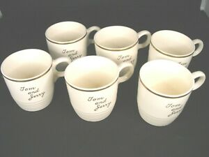 """Vintage """"Tom and Jerry"""" Drink Mugs Ivory Trimmed in Gold 6 Pieces"""